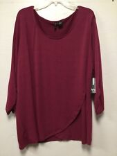 Women Faux Wrap Top Size 3x Red Magenta Tizz Long Sleeve Directions 197