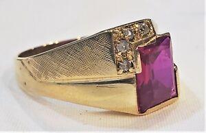 Handsome Vintage Ruby Diamond 14K Gold Ring Men's Designer Signed 7 Grams