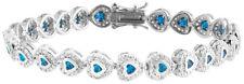 Sterling Silver 925 Womens Synthetic Blue Stone Bracelet 7mm Wide