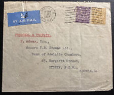 1934 London England Airmail Cover Perfin Stamp To Sydney Australia