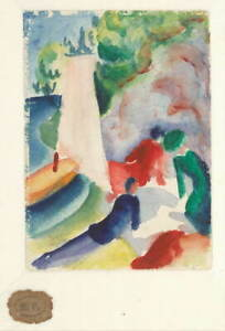 August Macke Picnic on the beach 1913 Poster Reproduction Giclee Canvas Print