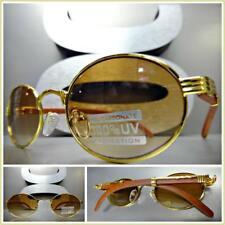 Men's Classy Sophisticated SUN GLASSES Oval Gold & Wood Wooden Frame Honey Lens