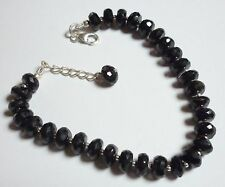 925 Sterling Silver Natural Faceted Black Onyx Bracelet