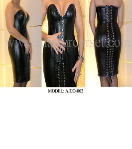 women long corset in black leather donne corsetto di cuoio lungo Corset en cuir
