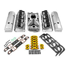 fit Chevy SBC 350 Hyd FT 220cc Straight Plug Cylinder Head Top End Engine Combo