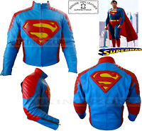 SUPERMAN STYLE CE ARMOUR MENS MOTORBIKE / MOTORCYCLE COWHIDE LEATHER JACKET