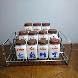 Vintage Milk Glass Spice Jars With Organizing Rack
