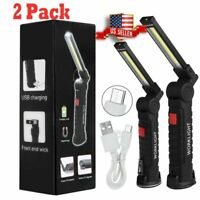 2 Rechargeable COB LED Slim Work Light Lamp Flashlight Inspect Folding Torch USA