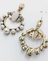 Handmade Multi Crystal Ear Drop Dangle Stud Ancient Gold long Tassels Earrings