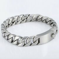 11mm Matte Silver Curb Cuban Link Chain Bracelet 316L Stainless Steel Jewelry