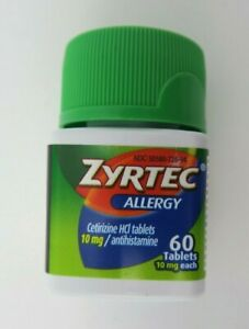 Zyrtec 60 Tablets 24HR Indoor/Outdoor Allergies 10mg Each Exp. 06/22^ New Sealed