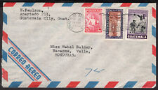 1542 GUATEMALA TO HONDURAS AIR MAIL COVER 1950 TO NACAOME SOCCER STAMP
