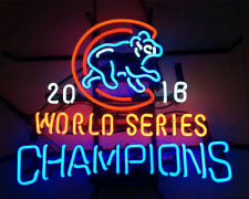 "Chicago Cubs 2016 World Series Champions Neon Lamp Sign 20""x16"" Bar Light Beer"