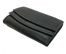 Black Genuine Leather Keychain Holder Trifold Accordion Wallet Coin Key Ring