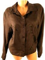 Bechamel woman brown long sleeve embroidered button down faux suede top 1X
