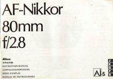 1980s NIKON AF-NIKKOR 80mm f/2.8 LENS INSTRUCTION MANUAL for nikon 35mm SLR