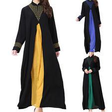 Islamic Women Muslim Dubai Long Dress Patchwork Abaya Kaftan Casual Maxi Robe