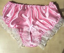 pink satin front peephole nickers pants bloomers french maid sissy 34-46 frilly
