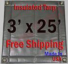 "3' x 25' Insulated Poly Tarp 1/2"" Foam Core Concrete Padding Wall Cushion Kiln"