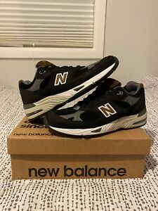 Mens New Balance 991 Made In England Black/Brown/White Pig Suede - US 11