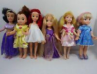 "Lot of 6 Disney Princess Dolls Playmates Toys 15"" Jasmin Belle Cinderella Etc"