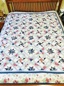 NORTH STAR full size cotton quilt bedspread comforter white blue Eight 8 point
