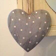 Shabby Hanging Large Wooden Polka Dot Heart Decoration in Soft  Green or Blue