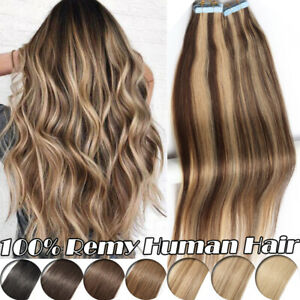 Invisible Tape In Remy Human Hair Extensions Skin Weft Brown Black Blonde 20PCS