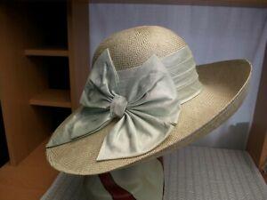 WHITELEY Beige Natural straw hat + Silk band & bow Excellent Wedding