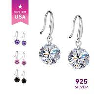 925 Sterling Silver Hook Drop Earrings Color Crystal Rhinerstone Ear Ring Studs