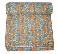 Vintage Kantha Bedding Quilt Indian Floral Bedspread Coverlet Blanket Throw Art