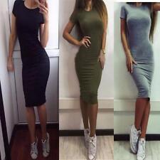Sexy Women Ladies Short Sleeve Dress Stretch Bodycon Knee Length Midi Dress New
