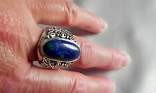 🌠 17g sterling silver fully HM DP 925 Doug Paulus azur-malachite ring R (8.5)