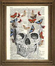 """Vintage dictionnaire livre imprimé: crâne avec papillons art (10 x 8"""")"""