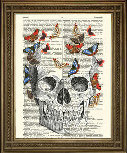 SKULL ART: Death Skull With Butterflies Printed on Dictionary Paper