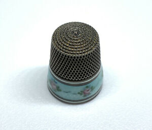 Antique Vintage Simon Bros. Sterling Silver Blue Enamel Floral Guilloche Thimble