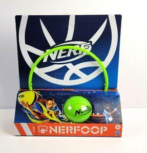 NERF NERFOOP The Classic Mini Foam Basketball and Hoop Hooks On Doors Green NEW