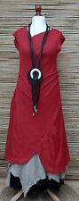 *ZUZA BART*DESIGN 100% PURE LINEN  LAGENLOOK ASYMMETRICAL LONG DRESS Size M-L