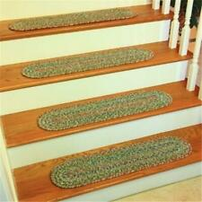 Rhody Rug SO65A008X028-13 Sophia Multi Braided Stair Tread Moss Green - Set O...