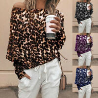 Fashion Women Ladies Shirt Leopard Print Long Sleeve Off Shoulder Tops Blouse