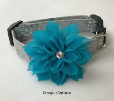 Beautiful Blue Gray Floral Dog Collar With Flower Size XS-L by Doogie Couture