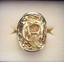 AWESOME STERLING SILVER ZODIAC RING.ASTROLOGY-HOROSCOPE SIGN 'PISCES""
