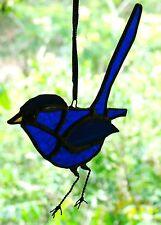 AUSTRALIAN SUPERB BLUE FAIRY WREN Stained Glass Suncatcher Hand Crafted
