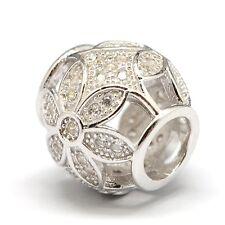 PAVÉ FLOWER-Openwork w.CZ-European charm bead- Genuine Solid 925 sterling silver