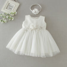Beaded Baby Girl Baptism Dress Embroidery Christening Lace Gown with Headpiece