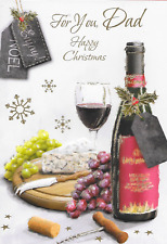 FOR YOU DAD CHRISTMAS CARD,TRADITIONAL CHEESE & RED WINE THEME,LOVELY VERSE (CC2