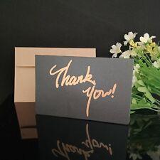 ** NEW STOCK ** 10x Thank You Card, Metallic Black & Gold with Kraft Envelopes