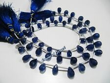 Natural Blue Sapphire Teardrop Briolette Faceted Beads 5x7 to 6x8mm strand 8inch