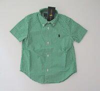 NWT Ralph Lauren Boys Short Sleeve Green Gingham Button Down Shirt Sz 6 NEW $35