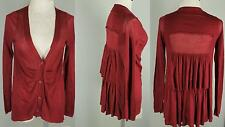 Moth Anthropologie Burgundy Red Wool Blend Ruffle Back Cardigan Sweater S 4 6 8
